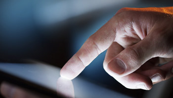 Finger navigating touch-screen device